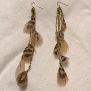 Dangle Earrings, Feather Detail